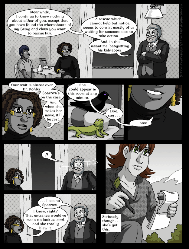 Chapter 28 page 3 ~ Sparrow misses her dramatic-entrance cue