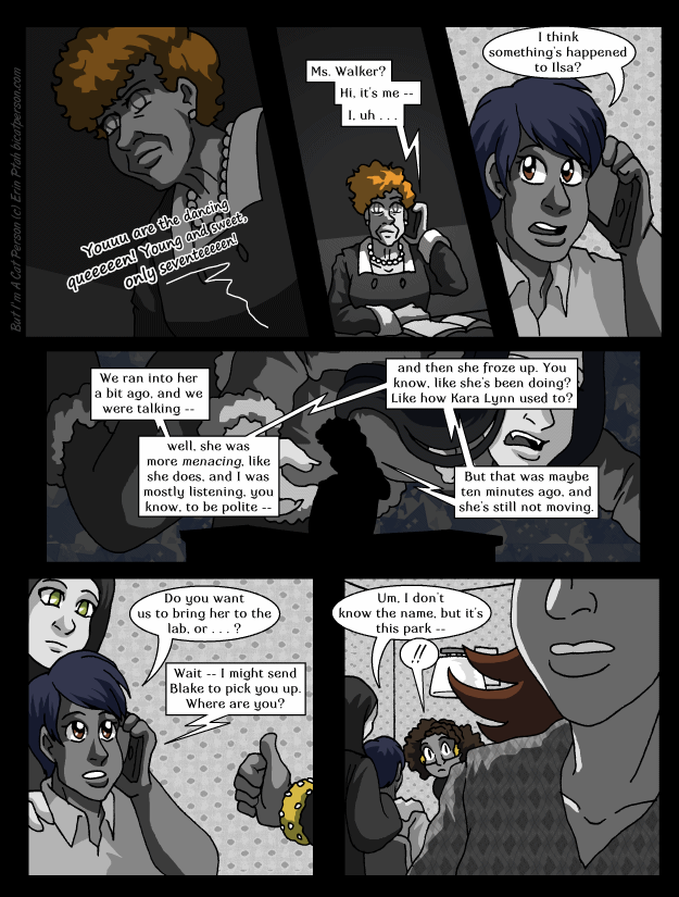 Chapter 28 page 10 ~ Since she can't look at caller ID, Walker has a LOT of custom ringtones