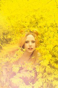 Lady Gaga in yellow flowers