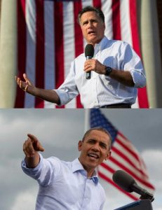 Obama and Romney in rolled-up sleeves