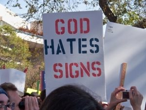 Sign reading God Hates Signs