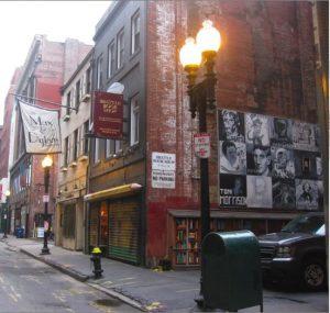 Boston street with lights