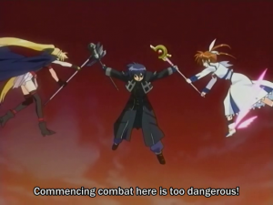 Nanoha screencap of a magic fight being stopped