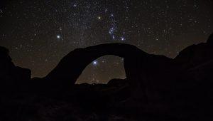 Desert bridge formation at night