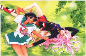 Utena and Anthy lying on grass